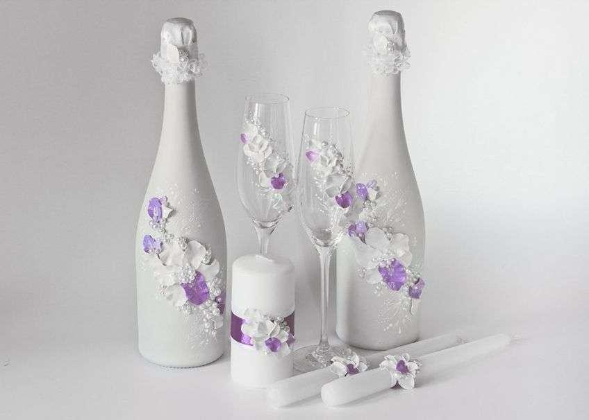 Украшение на бокалы и шампанское своими руками