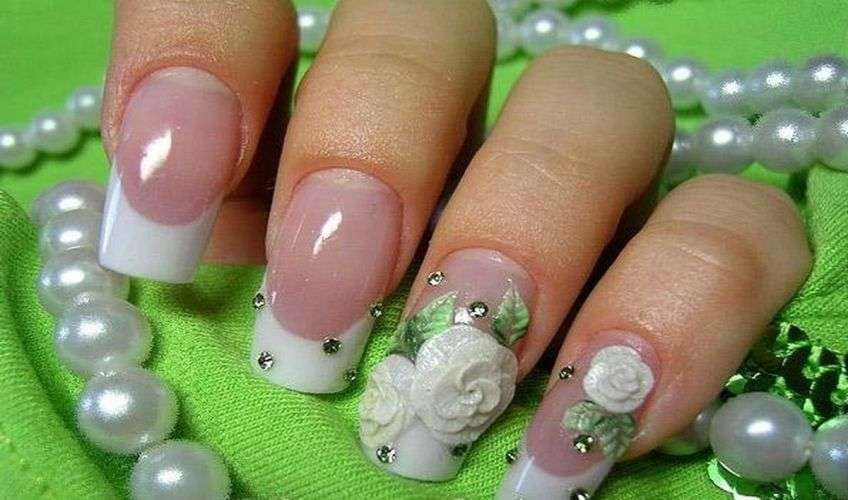 Свадебная лепка на ногтях